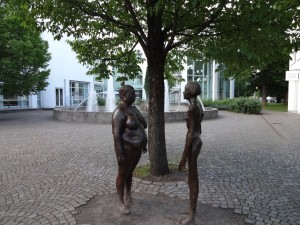 The city is littered with modern artwork and statues wherever you look. These ladies greet us at the hotel entrance.