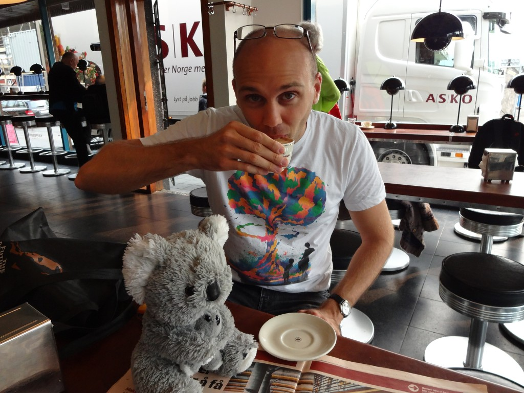 Coffee with our team mascot, Sheila the koala